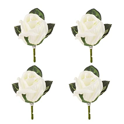 Amazon Set Of 4 Rose Boutonniere With Pin For Men Wedding Prom