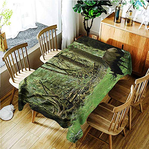 TT.HOME Elastic Tablecloth Rectangular,Rainforest Roosevelt Elk in Rainforest Wildlife National Park Washington Antlers Theme,Table Cover for Dining,W54x90L,Green Brown]()