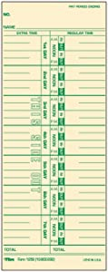 """TOPS Time Cards, Weekly, 1-Sided, Numbered Days, 3-1/2"""" x 9"""", Manila, Green Print, 500-Count (1256)"""
