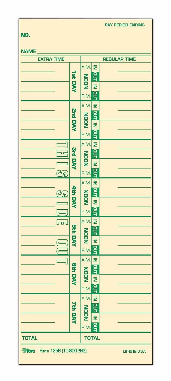 TOPS Time Cards, Weekly, 1-Sided, Numbered Days, 3-1/2'' x 9'', Manila, Green Print, 500-Count (1256)
