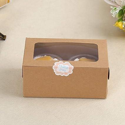 Aofocy Cupcake Boxes Cake Holder Pastelería Hornear Paquete Papel para panadería panadería Muffin con 2 Agujeros