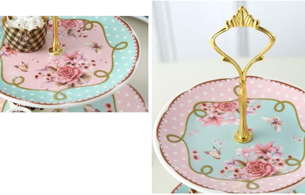 Soporte para tartas de cer/ámica de tres capas de frutas para sala de estar tartas plato de frutas secas bandeja de t/é de la tarde exquisito