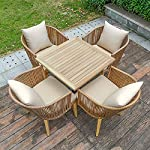 VBARV-Sedie-da-Giardino-in-Rattan-tavoli-e-sedie-5-Pezzi-Set-bistrot-per-Conversazione-in-Vimini-allaperto-Protezione-Ambientale-in-Rattan-PE-con-Cuscini-per-sedili-per-Prato-a-Bordo-Piscina