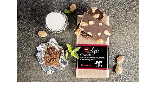Chocolate con leche, almendras, stevia y cacao ecológico. Sin azúcar. Apto para diabéticos. Sin gluten. 150 gr. Sin conservantes ni colorantes.