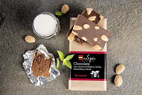 Chocolate con leche, almendras, stevia y cacao ecológico. Sin azúcar. Apto para