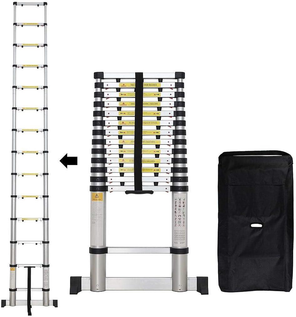 Sotech - Escalera Plegable, Escalera Telescópica, 4,1 Metro(s), Brecha extra, Bolsa de transporte GRATIS, Barra estabilizadora, EN 131-6, Carga máxima: 150 kg, Número de peldaños: 14: Amazon.es: Hogar