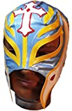 WWE Official Rey Mysterio Youth Size Light Blue & Yellow Wrestling Mask Licensed