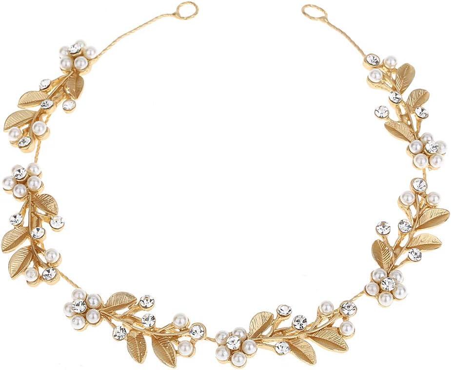 Lurrose Aleación de pelo Vine hojas de oro Rhinestone flor de la perla nupcial Headpieces boda diadema Headwear pelo joya para mujeres niñas