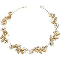 Lurrose Aleación de pelo Vine hojas de oro Rhinestone flor de la perla nupcial Headpieces boda diadema Headwear pelo…
