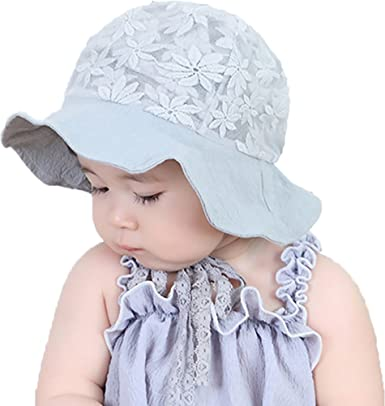 c2544ef9220 Ababalaya Baby Girls Sunscreen SPF 50+ UV Protection Floral Lace Sun Hat  with Strap 6-24M