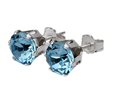 6mm Aquamarine Crystal Stud Earrings Made With Sterling Silver and Swarovski Crystals by Black Moon wB77DlL