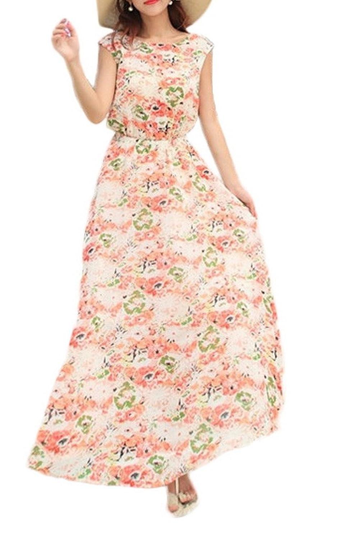 Bigood Einheitgröße Damen Rundhals Langes Kleid Strandkleid Pink