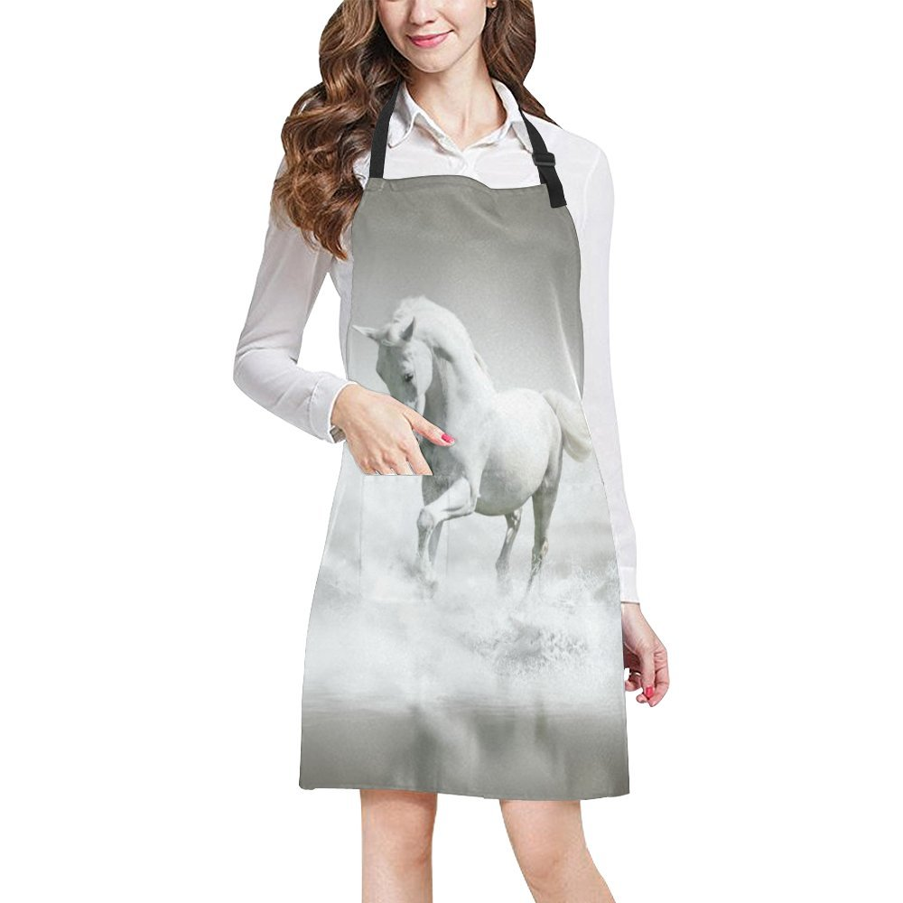Horse Pattern Print Adjustable Kitchen Chef Bib Apron with Pocket for Cooking, Baking, Crafting, Gardening