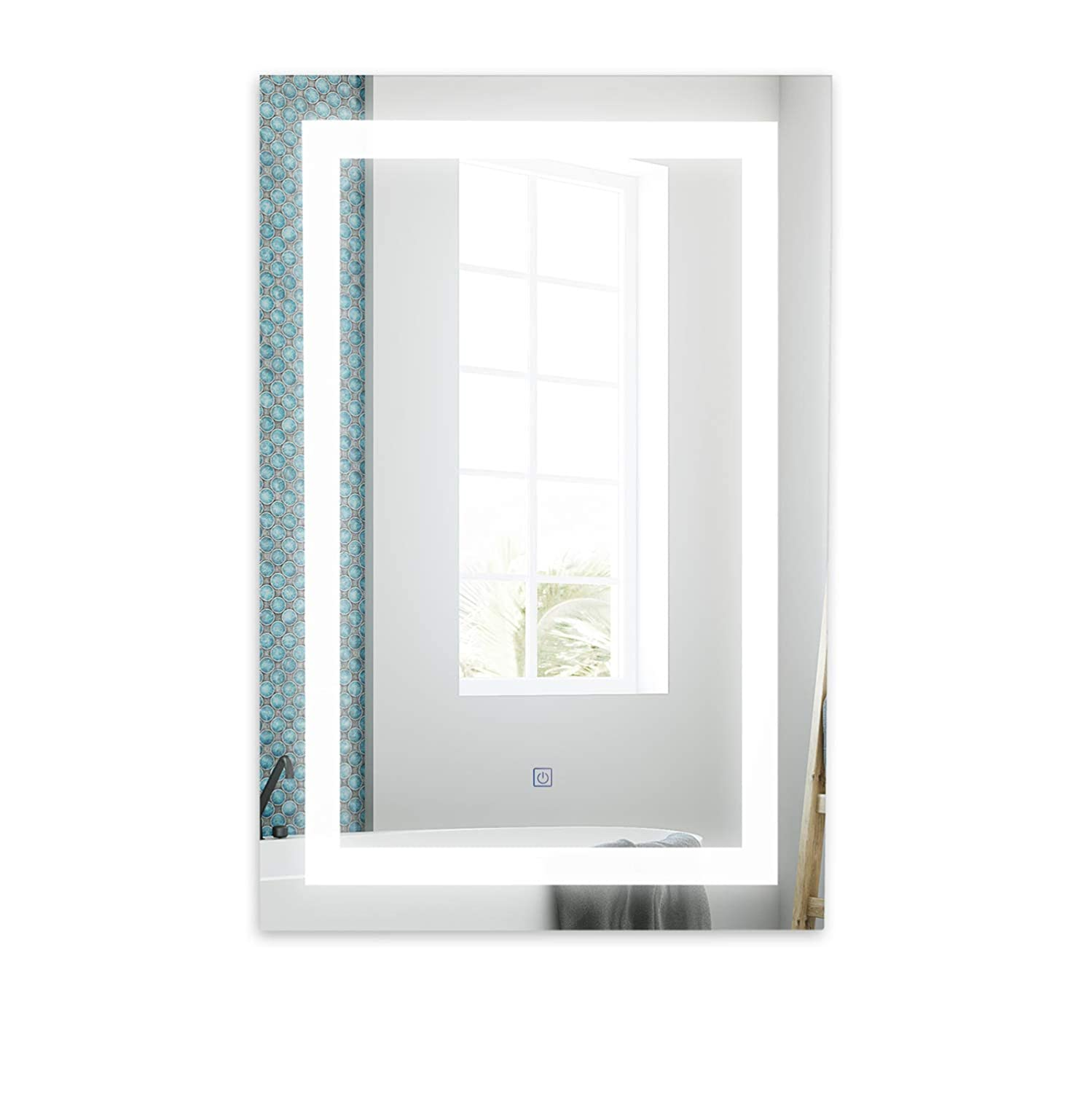 Bathroom LED Mirror 24 36 Inch Wall Mounted Lighted Vanity Mirror 3000-6000K Dimmable Illuminated Backlit Hotel with Anti Fog Pad Touch Sensor Switch, CRI 90, IP44 Waterproof, Vertical or Horizontal