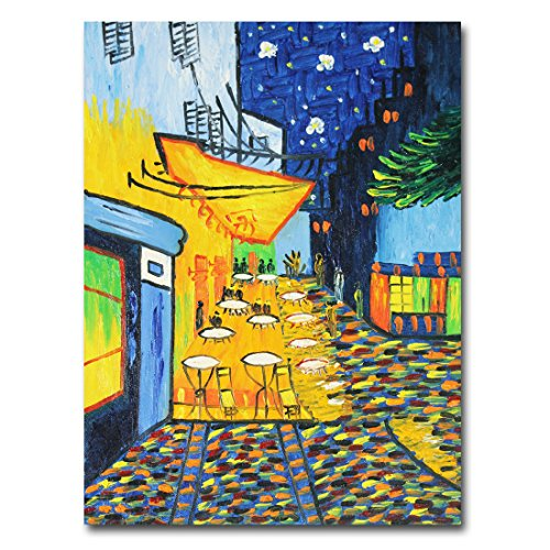Muzagroo Art Oil Paintings Hand Painted on Canvas Wall Pictures Van Gogh Painting Reproduction The Cafe Terrace on The Place Du Forum Stretched Ready to Hang