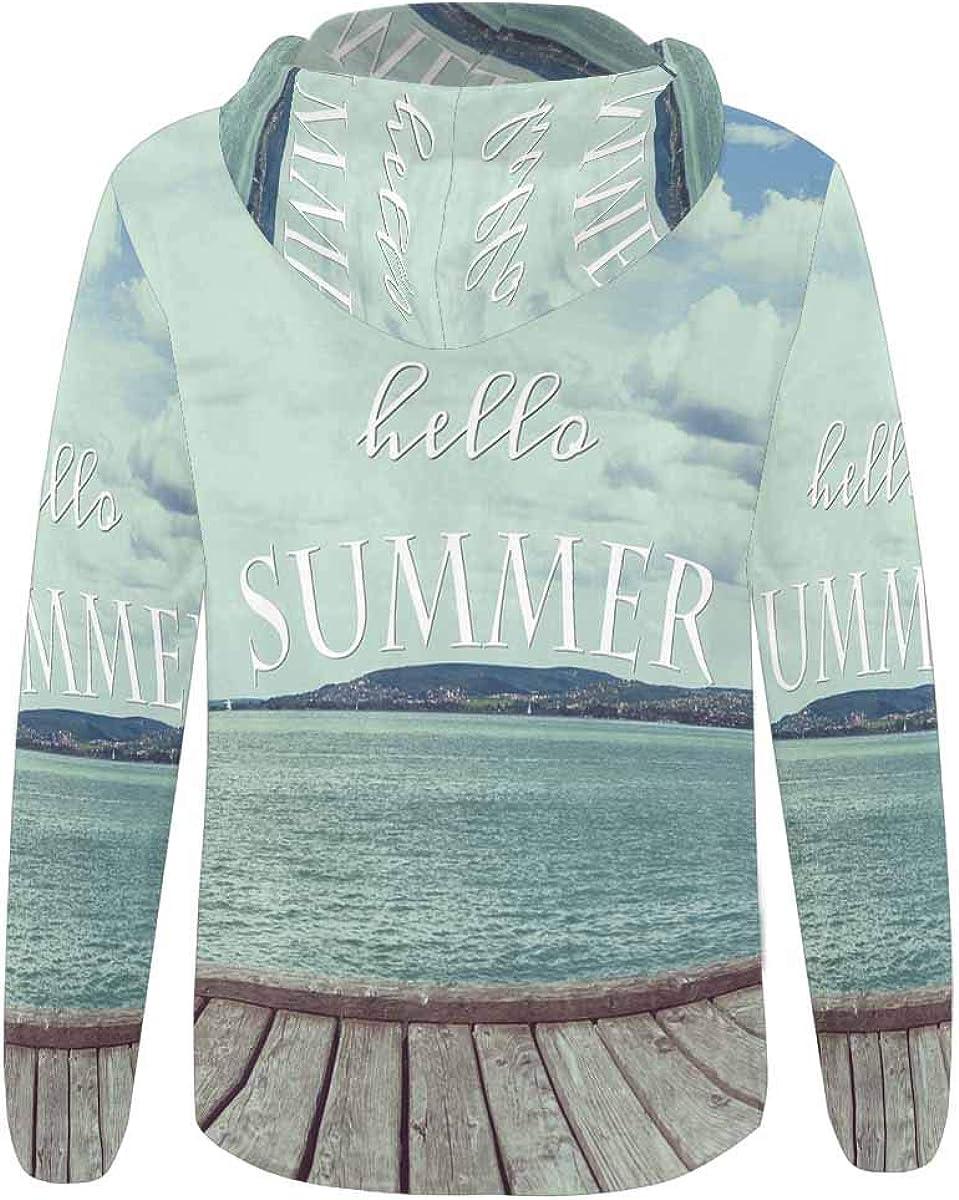 INTERESTPRINT Womens Full-Zip Hoodie Hello Summer in Vintage Ocean Sea Seascape
