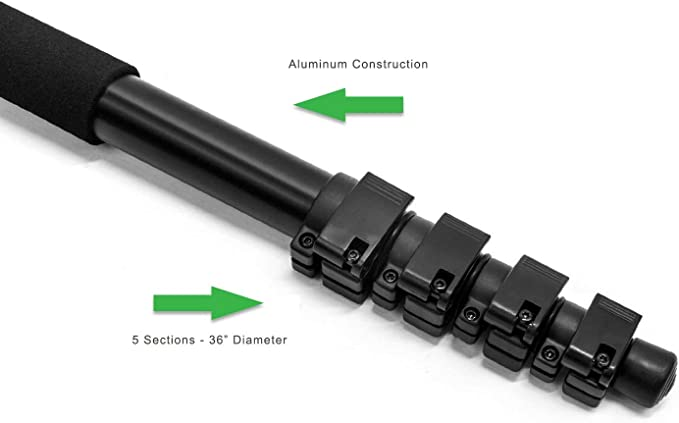 for Canon VIXIA HF20 Dual Optional Head Professional Heavy Duty 72 Monopod//Unipod