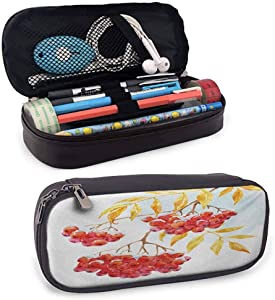 Rowan Portable Carrying Case/Bag/Pouch/Holder, Hand Drawn Watercolor Branch of Ashberry in Snowy Winter Nature Zippered Pen Case for School, Work & Office, Earth Yellow Red Pale Blue