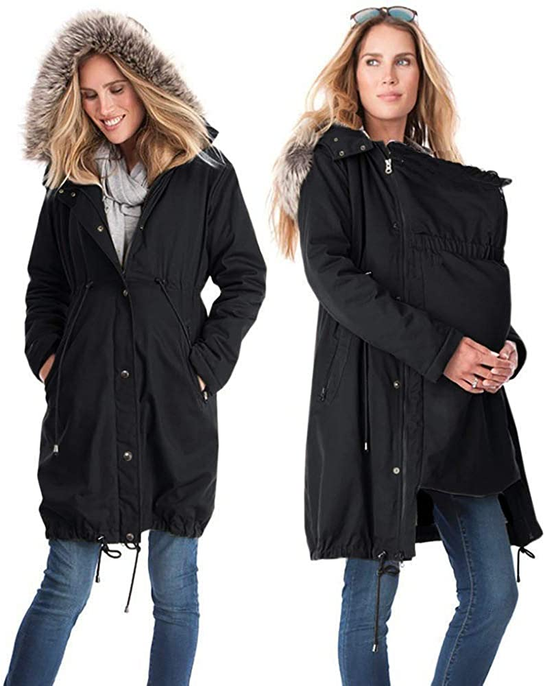 BOLAWOO-77 Ladies Zipper Maternity Clothes Babywearing 3 in 1 Maternity Fashion Brands Jacket Loose Long Sleeve Maternity Coat Spring Summer Autumn Jacket Hooded