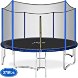 JUPA Kids Trampoline 15FT 14FT 12FT, Safe Outdoor Trampoline Maximum Weight Capacity 375LBS with Enclosure Net Jumping Mat Safety Pad, Heavy Duty Round Trampoline for Backyard