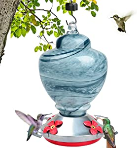 LEADNOVO Hummingbird Feeders for Outdoors, Hand Blown Glass Bird Feeder, Leakproof 38 Ounces Nectar Capacity Hummingbird Feeders Include Hanging Wires and Moat Hook