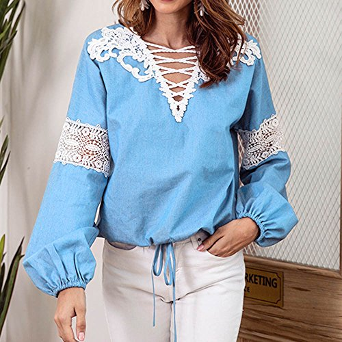BYEEE  Shop Women's Clearance Sale, Openwork Criss-Cross V Neck Shirt Lace Lantern Sleeve Tie Knot Front Blouse Tops for Lady by BYEEE (Image #2)