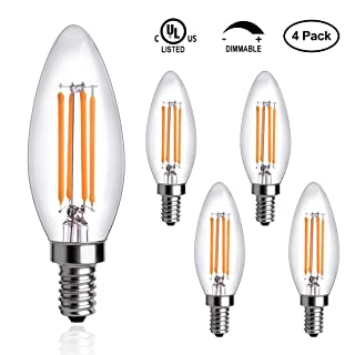 HOLA Candelabra LED Filament Bulb 40W Equivalent, LED Chandelier Bulb 4.5W, Dimmable LED Bulb UL-Listed, Soft White 2700K, Decorative Candle Light E12, Clear Glass for Ceiling Fan, 4 Pack