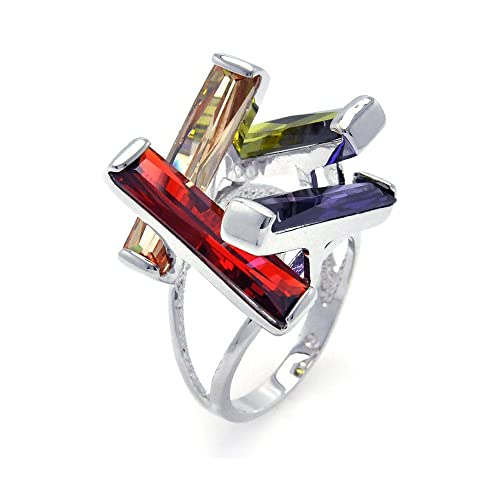 Double Accent Sterling Silver Rhodium Plated, Multi Colored CZ Open Long Bar Womens Ring