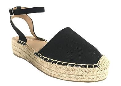 65048bd72ef Soda Fiesta Women s Braided Trim Ankle Strap Espadrilles Platform Sandals