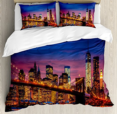 Ambesonne New York Duvet Cover Set, NYC That Never Sleeps Reflections on Manhattan East River City Image Photo Print, Decorative 3 Piece Bedding Set with 2 Pillow Shams, King Size, Pink Blue (Print Bedding Photo)