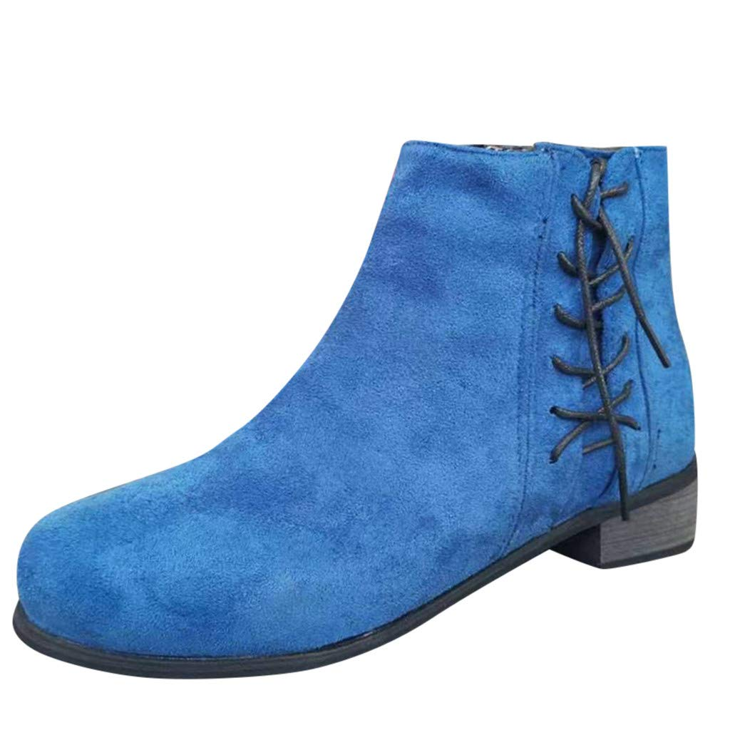 Women Stacked Heel Ankle Boots   Ladies Fashion Faux Suede Leather Lace Up Short Booties   Causal Round Toe Boot with Side Zip by Leadmall-Boot