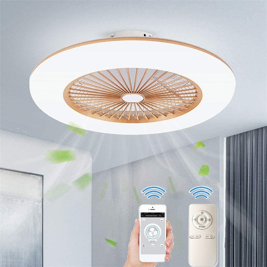 RDYL Ventilador de Techo con iluminación Lámpara LED de 32 W silenciada Velocidad del Viento Ajustable, Control teléfono móvil Dormitorio Sala de Estar Comedor lámpara de Techo 55 cm,Oro