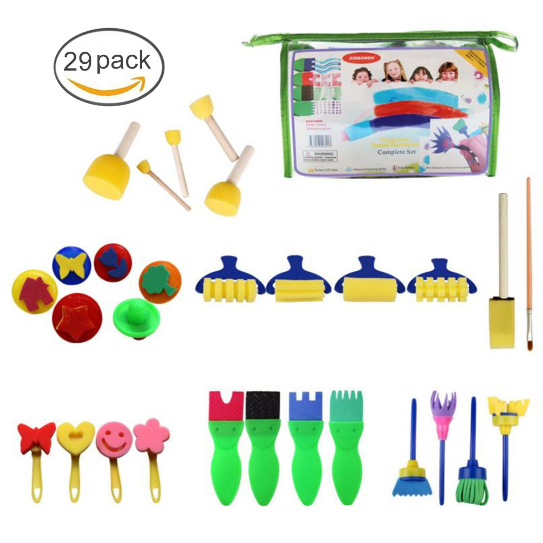 FineInno 26Pcs Kids Paint Brush Set Nylon Hair Brushes Painting Drawing Tools Sponge Brushes Sponge Seal Early Learning Kids Paint Set Painting Kits for Acrylic Oil Watercolor Gouache (26 pcs)