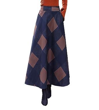 e9ef6bd170529d Damen Vintage Elegante Gestreifter Plaid Wollrock a Linie Herbst Winter  Warm Röcke Langen Elastische Taille Rock