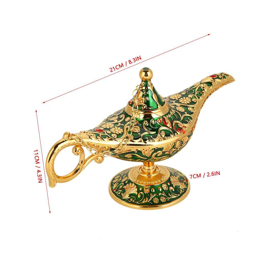 L/ámpara m/ágica de Aladdin Retro Metal Fairy Tale Aladdin Magic Genie Teapot L/ámpara de aceite Inicio Decoraci/ón de mesa p/átina verde