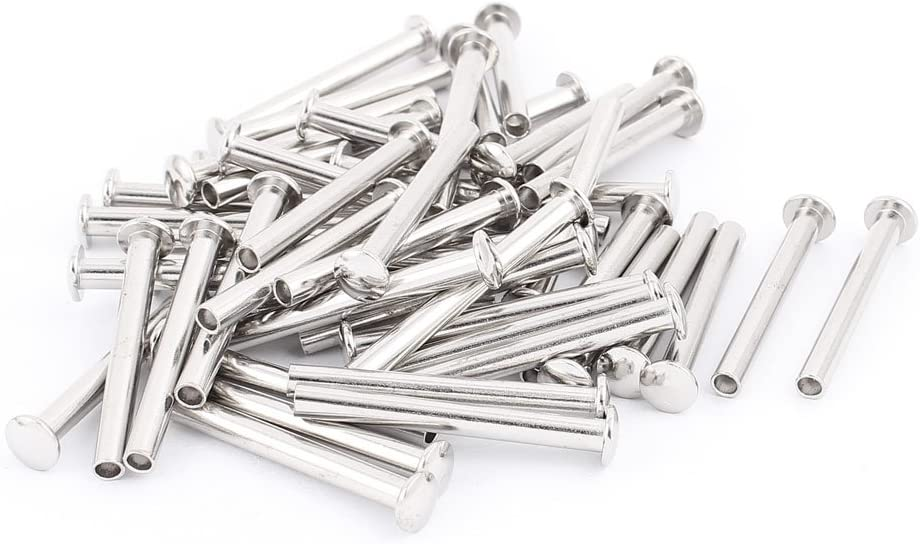 U-nique 50 Pcs 13//64 x 1 25//32 Nickel Plated Oval Head Semi-Tubular Rivets Silver Tone