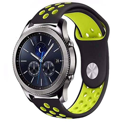 Amazon.com: Jewh 22mm Sport silicone strap band for samsung gear s3 frontier - Double Color Silicone Rubber Watchband for Samsung Gear S3 - Classic Frontier ...
