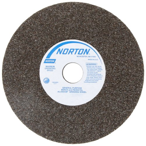 Norton Bench and Pedestal Abrasive Wheel, Type 01 Straight, Aluminum Oxide, 1