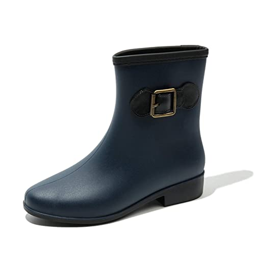 Bota Agua Goma Mujer Jardín Trabajo Lluvia Tobillo Botas Impermeables Antideslizante Festival Zapatos Wellington Boots Negro Beige Marrón 36-41: Amazon.es: ...