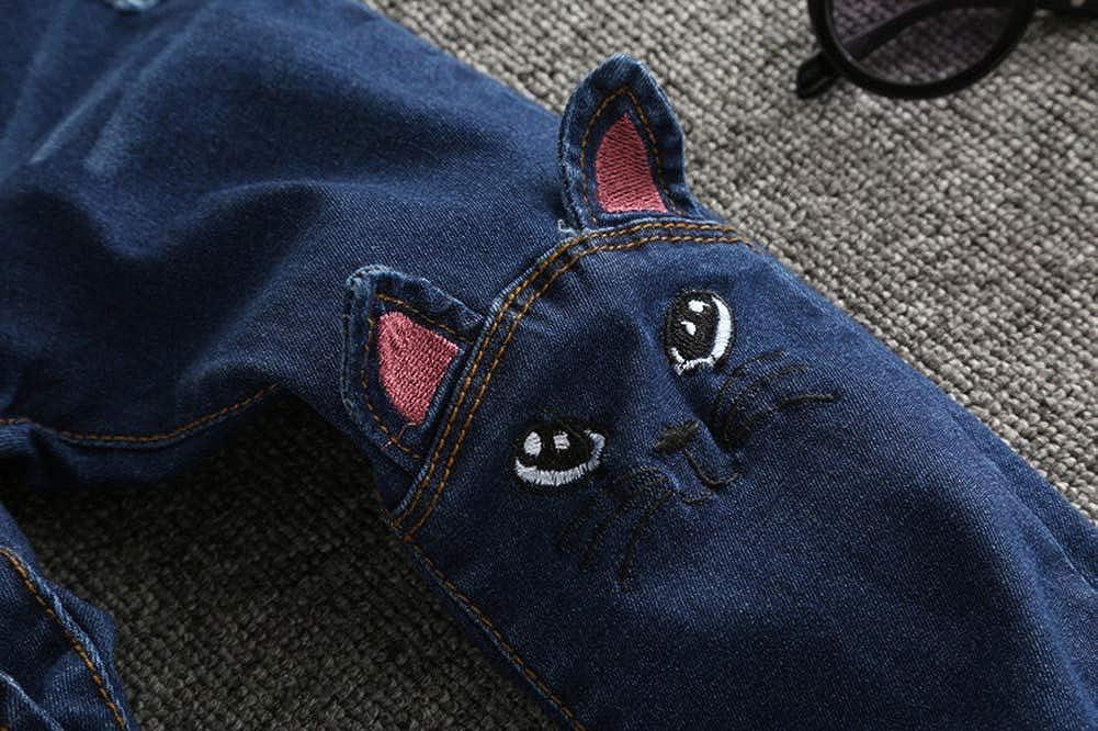 Big Girls Kids Distressed Ripped Hole Teens Jean Blue Cat Slim Denim Pants