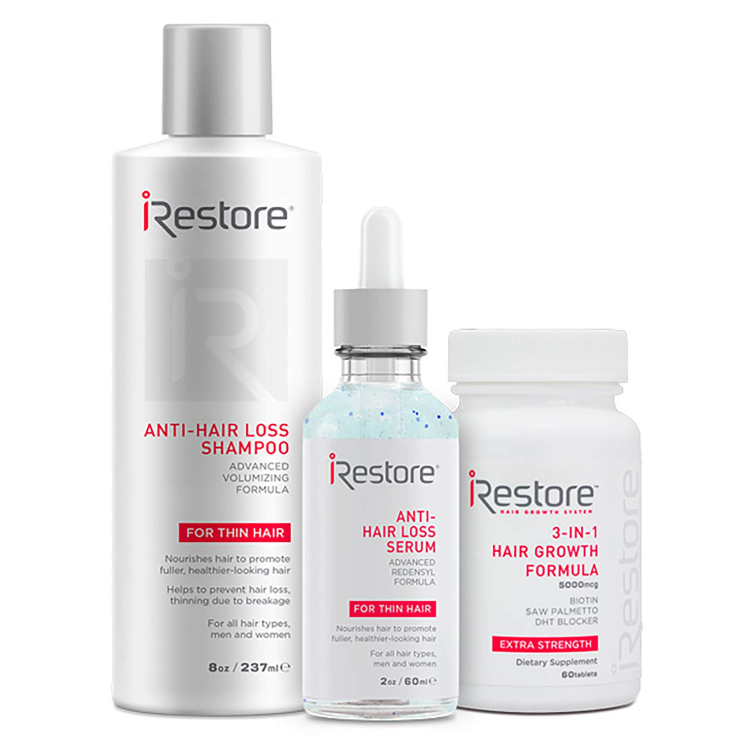 iRestore Fast Hair Growth Bundle includes the 3-in-1 Hair Growth Supplement, Anti-Hair Loss Serum, and Anti-Hair Loss Shampoo to combat hair loss by iRestore