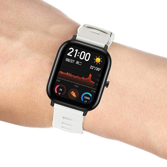 Pequeño reloj deportivo de silicona para Amazfit GTS Flat Head Monochrome silicona Smart Watch Blanco