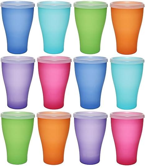 idea-station NEO Kunststoff-Becher 12 Stück, 450 ml, mehrweg, bruchsicher, bunt, mit Deckel, Party-Becher, Plastik-Becher, Me