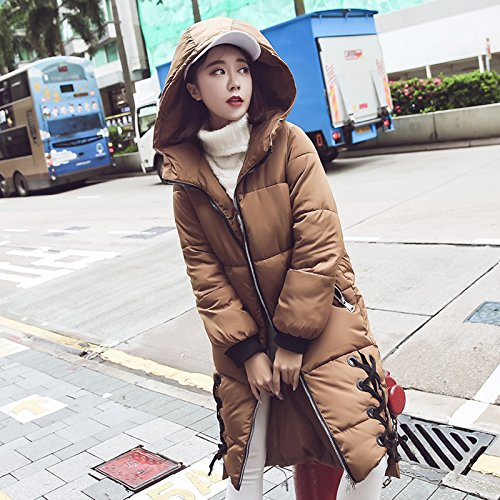 Clothing Winter Feather Long Jackets Xuanku Clothing Cotton Girls Bread And The Girl Of Cotton Harajuku Section Khaki Coat Versatile nWvnOxHftq