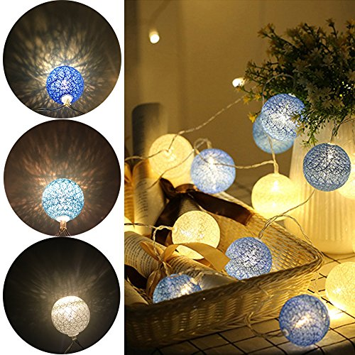 cotton ball string lights blue - 1