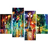 eCraftIndia 'Beauty Under Rain' Painting (Canvas Print, 121.92 cm x 76.2 cm, Set of 4)