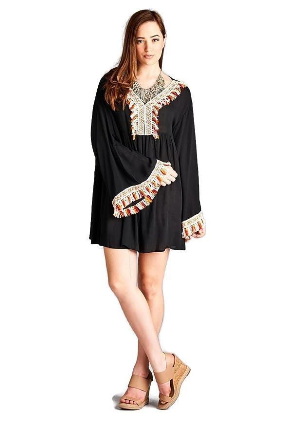 ce75e78e184 Velzera Fringed   Embroidered Bohemian Tunic Dress Boho Chic Plus Size -  Black -  Amazon.co.uk  Clothing