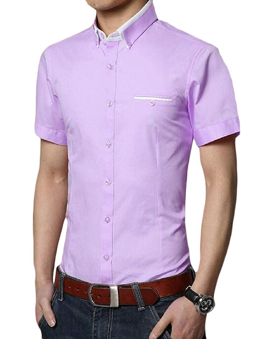 Cromoncent Men Slim Fit Short-Sleeve Button-Down Business Dress Shirt