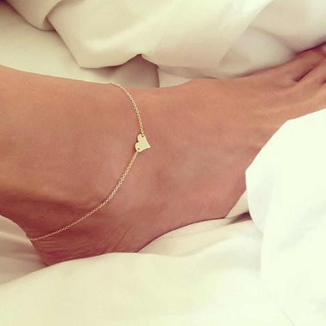 Sandistore Girl Simple Heart Ankle Bracelet Chain Beach Foot Sandal Jewelry