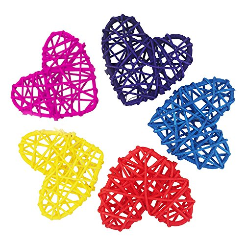Okdeals 5PCS Handmade Colorful Rattan Heart Sepak Takraw DIY Rattan Ball Party Decor Supplies for Holiday Ornaments